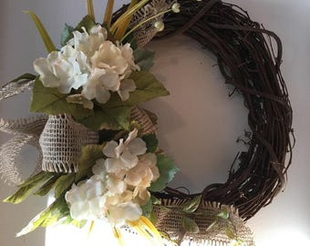 Grapevine wreath with hydrangeas