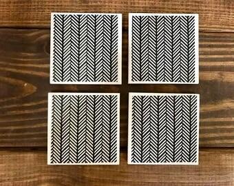 Coasters - Black & White Herringbone - Handmade Ceramic Tile Coasters - Set of 4 - 4x4 inches