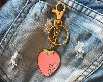 Jumbo Kawaii Strawberry Bag Charm Keychain