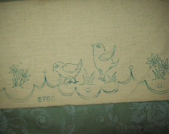 edge of shelf old embroidery, chicks