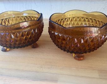 Amber diamond glass footed bowl set of 2