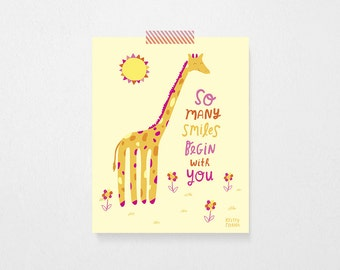 Giraffe Quote | PRINTABLE, Nursery Art, Wall Art, Quote | Instant Download | 8x10