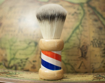 Shaving Brush Essentia brushes woodturned with airbrushing barber pole