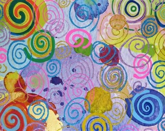 Glitter Effect, Hand-embellished, Abstact Swirls & Circles Painting, Gallery Wrapped Canvas Print, Wall Art, Autistic Artist