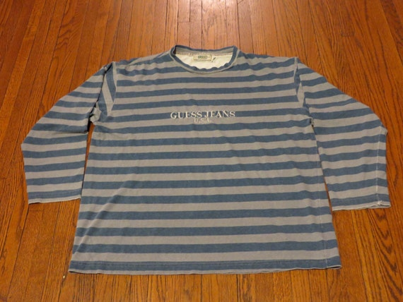 Vtg 90 39 S Guess Jeans Usa Grey Blue Striped Long Sleeve
