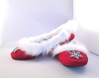 Christmas Theme Red Glitter Flats