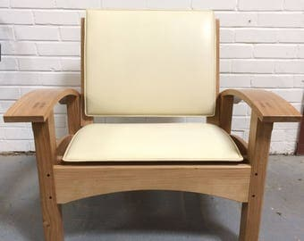 Solid Oak Morris Style Recliner Chair
