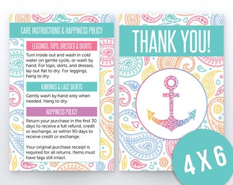 Paisley Care Card, Thank You, Happiness Policy | 4x6 | Lula Care Instructions | HO Approved Fonts & Colors