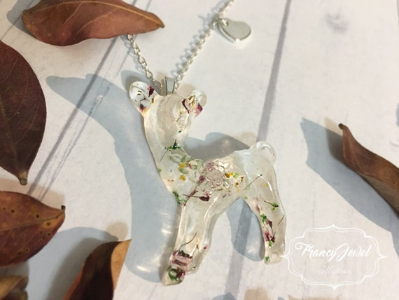 OOAK, fawn, fawn necklace, silver necklace, dried flower resin, flower jewelry, sterling silver plated, Christmas gift, made in Italy