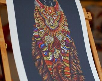 Maine Coon Cat print, Maine Coon Cat Art, Cat Art, Ginger Car print, Colourful Cat print, Cat Totem print, Cat Spirit Animal Print
