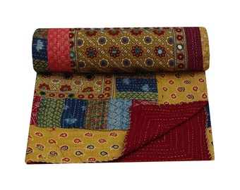 Queen Size Patchwork Kantha Quilt Bohemian Mirror Embroidery Kantha Bedspread