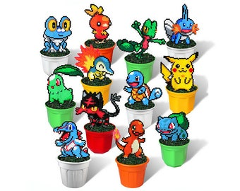 Pokemon Figures in Plant Pots: Pixel Art Beads Handmade Toy 8 bit Decoration Pokemon Red Gold Pikachu Squirtle Bulbasaur Charmander Starters