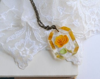 Yellow Rose Lucite Pendant, Reverse Carved Rose Pendant, Resin Rose Pendant, Plastic Rose Pendant, Yellow Rose Necklace