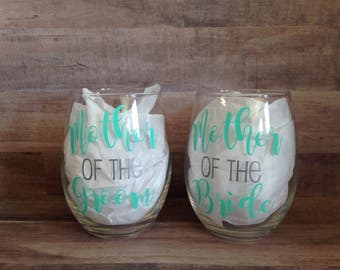Mother of the Bride/Groom Wine Glass Set