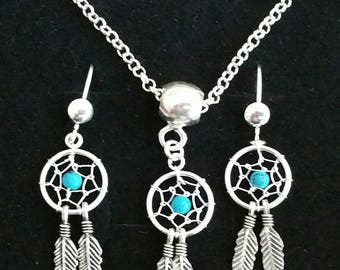Set necklace and earrings Dreamcatcher of 925 sterling silver, pendant atapasuenos with turquoise, Set of earrings and necklace 925 silver stud