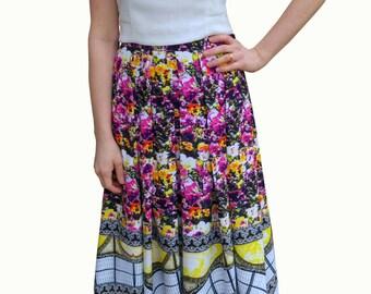 Pattern Clash floral Midi skirt