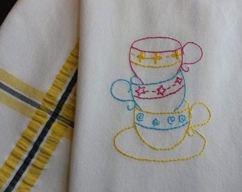 Embroidered teacups, stacked teacups, teacup embroidery, hand embroidered teacups, teacups tea towel, teacups kitchen towel, yellow decor