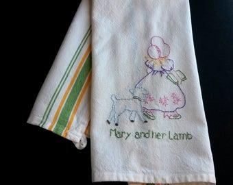 Mary had a little  lamb tea towel,  hand embroidered tea towel, mother goose rhyme, hand embroidery, retro embroidery, nursery rhyme