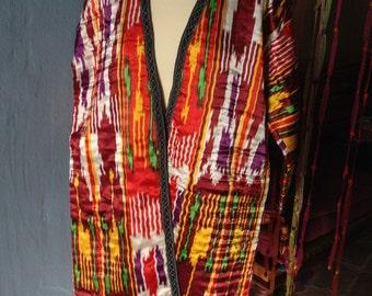 Uzbek Silk Ikat Tribal Kimono  Ethnic Coat