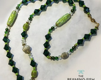 Lime Glitter - Colourful green beaded necklace, long necklace, lime green, green, sparkle, tribal.