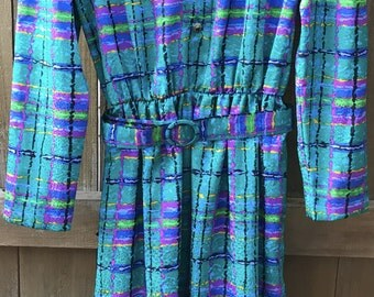 Vintage Ann Kirk Dress Size 8 Colorful and Bright Pattern
