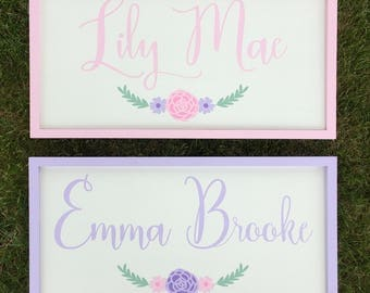 Girls Nursery Decor/Pink/Purple Personalized Wooden Sign/NurseryDecor/Baby Name Sign/Shabby Chic Girls/Custom Baby Name Art/Custom Name Sign