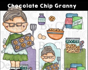 Chocolate Chip Granny PNG clipart that can be used for planner stickers personal and commercial