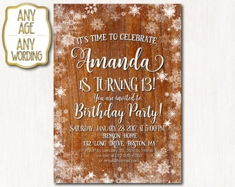 13th winter birthday invitations, Winter 13th birthday, Winter party invitation, Winter teen birthday invitation, ANY AGE - 1600