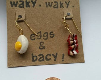 Waky, waky, eggs and bacy earrings