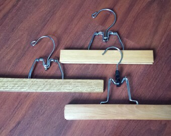 Vintage Wooden Hangers, Wooden Hangers for Pants, Skirts, Trousers, Scarves, Hangers, 1960s to 1970s, Clothing Storage, Set of 3