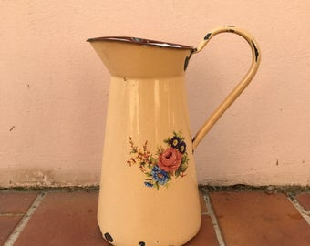 Vintage French Enamel pitcher jug water enameled middle size yellow 2703201717