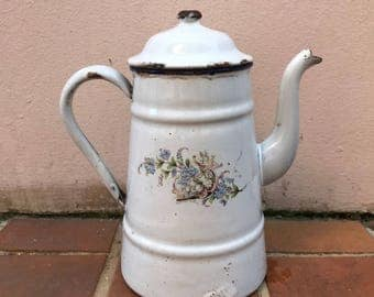 RARE Vintage French Enamelware lila flowers Enamel Coffee Pot
