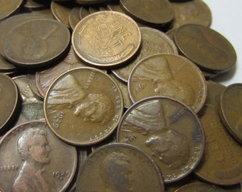 1 Roll 1909 to 1920's Lincoln Wheat Pennies Hand Rolled (50 Coins) - a 1909 in each roll!  Some VDB!