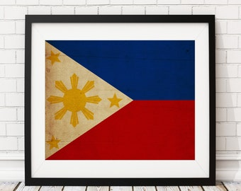 Philippines Flag Art,  Philippines Flag Print, Flag Poster, Country Flags, Flag Painting, Asian Art, Housewarming Gifts, Filipino Art