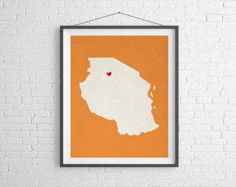 Custom Tanzania Silhouette Print, Customized Map Art, Personalized Gift, Heart Map Print, Tanzania Map, Africa Gifts, African Art, Poster