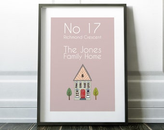 Custom family home print gift Personalised Family print Custom Art print Personalised gift art Wall art Home decor Home Print House Print