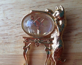 Vintage Cat Brooch - Cat with Goldfish Bowl