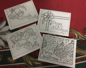 Color Your Own Christmas Cards Set Of Four Instant Download Holiday Crafts