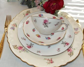 Mismatched Four Piece Chintz China Place Setting Vintage Pink Flowers