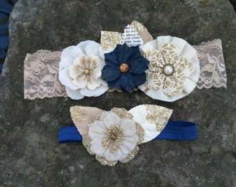 Rustic Navy Blue Garter Set. Includes one to keep & one to throw.