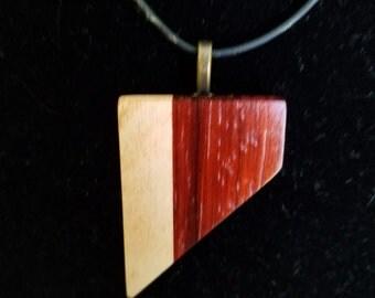 Maple and Padauk Chevron Wood Pendant