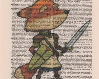 Fox Knight Print, Dictionary Art Print, Print on Book Page, Book Page Illustration, Vintage Dictionary Art