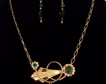 Necklace with vintage chain, vintage brooch pendant and vintage glass bead earrings