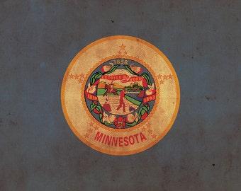Vintage Minnesota Flag on Canvas, Flag, Wall Art, Minnesota Photo, Minnesota Print,  Fine Art,  Lakes Flag, Single or Multiple Panels