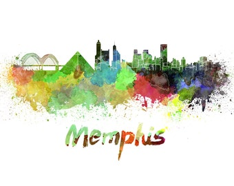 Memphis skyline watercolor canvas, Memphis Canvas Print, Memphis wall art, Canvas Wall Art, Watercolor Skyline, Gift Ideas, Memphis print