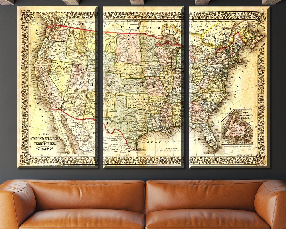 united states map vintage map canvas large map wall art map map of america vintage wall art. Black Bedroom Furniture Sets. Home Design Ideas