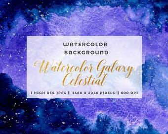 Blue Purple Galaxy Clipart Celestial Watercolor Galaxy Nebula Diy Navy Gold Winter Watercolor Wedding