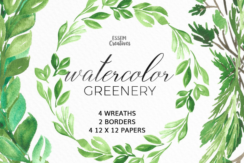Watercolor leaf wreath clipart floral wreath clipart for Watercolor greenery