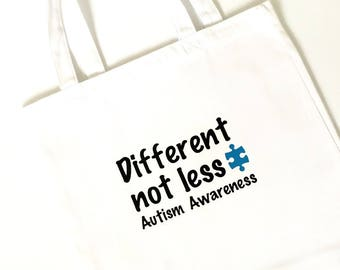 Autism Awareness Tote Bag, T-shirt, Different Not Less, bag, purse, book bag, puzzle, April, month, children, hope, love, light it up blue