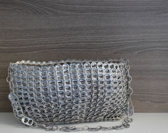 Silver and Modern Pull Tab Purse, Knitted Bag Made With Soda Tabs, Eco-Friendly, Upcycled, One-of-a-kind Handbag Crocheted with Can Tabs